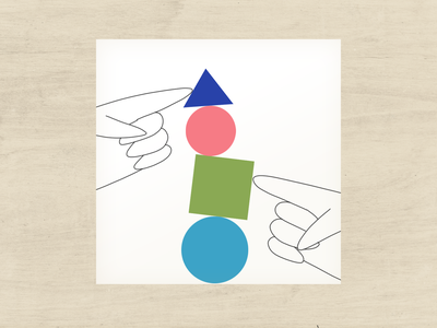 Life Balance 2 triangle circle collage balance hands wood figures geometric illustration geometric