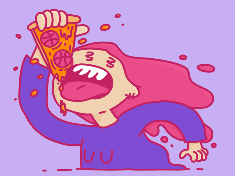 2x Hot Dribbble Invite Giveaway illustration pizza hot pizza character photoshop drawing invites dribbble giveaway dribbble invite giveaway