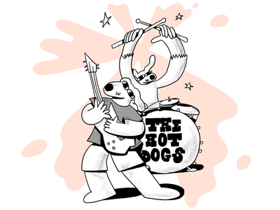 The Hot Dogs drumsticks drums guitar character dog hot dogs band punks garage rock music texture hot dog