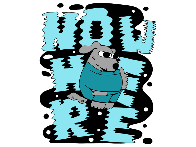 Nowhere 3 sketch space outline character design liquid letters floating blue mood dog nowhere