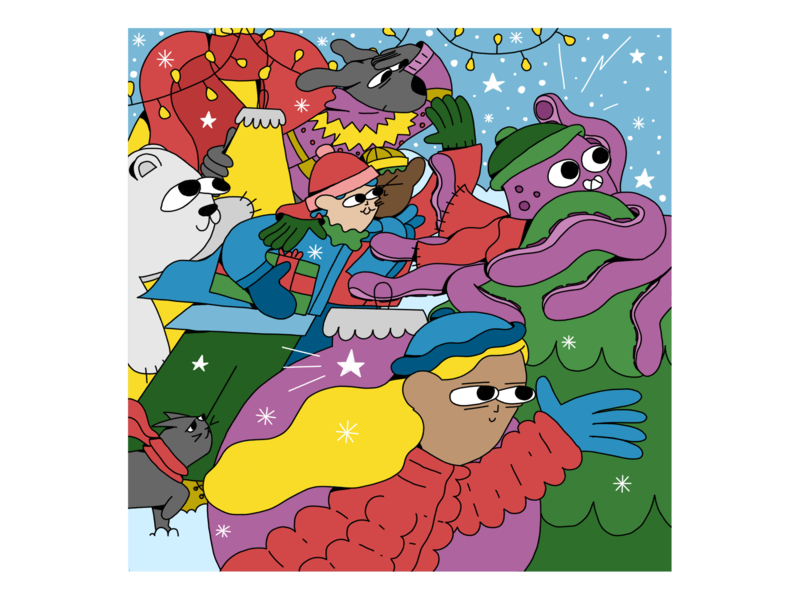 Winter Card garland girl equality lgbt lgbtq octopus cat dog holidays happy new year new year snow presents chritmas winter