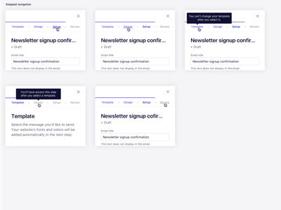 Stepped navigation for an email marketing tool editor web ux bar tab email marketing email creation experience wizard experience stepped progress bar stepped navigation navigation bar email campaign email builder ux ui