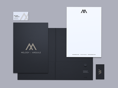 Melody / Arguile Stationery stationery presentation folder letterhead business card melody  arguile jonny delap print branding visual identity logo typography visual identity