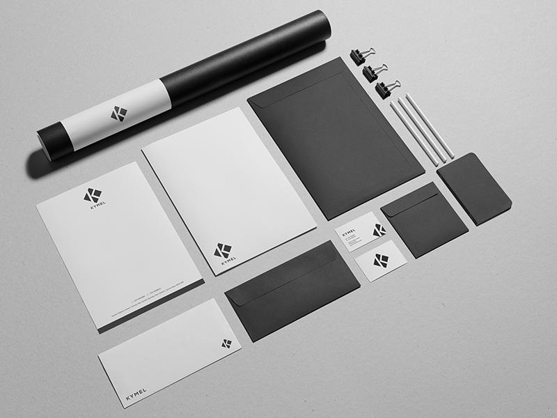 Kymel Stationery stationery logo branding brand identity presentation folder letterhead business card kymel design visual identity jonny delap
