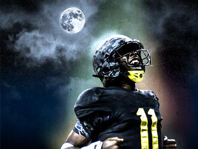 Football Monster monster football halloween moon fangs night sky fall