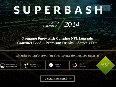 Superbash superbowl football party flyer event bar night club upscale