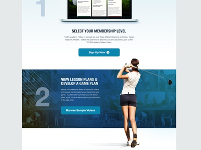 Golf Site how it works golf sports athlete athletics sign up helvetica neue blue landing page web web site