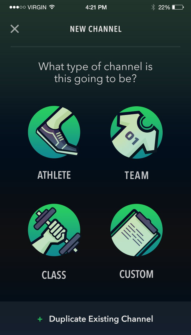 Channel create athlete or team