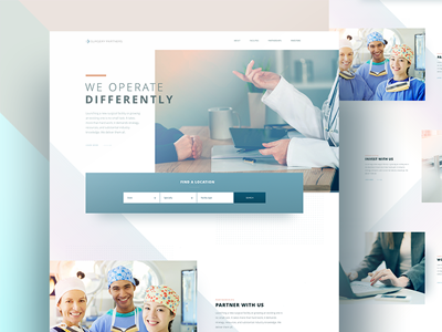 Healthcare homepage landing page angles pastel doctors surgery hospital homepage healthcare