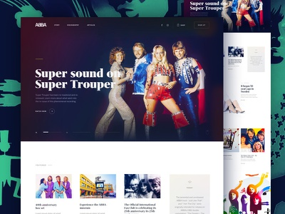 ABBA - Website editorial discography typography dance 70s grifo homepage website disco abba band music
