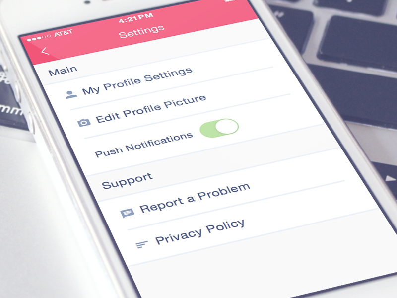 Settings Screen ui ux design web mobile portfolio app iphone clean flat settings