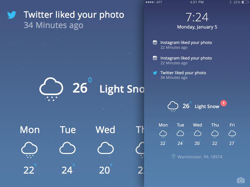 iOS Lock Screen WIP ui ux design web mobile interface app ipad clean icon sketch iphone