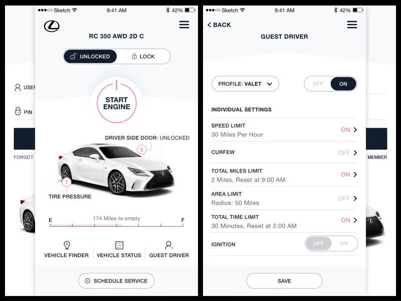 Lexus Mobile App ux ui product design mobile lexus iphone ios interface enform design app