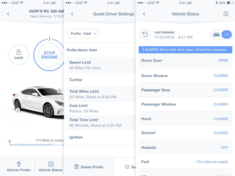 Lexus Mobile App mobile app lexus enform design ui ux product design interface ios iphone