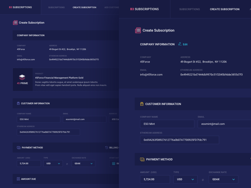 Create Subscriptions UI V1 interface dashboard forms graph ux ui bitcoin product design design ethereum crypto web design