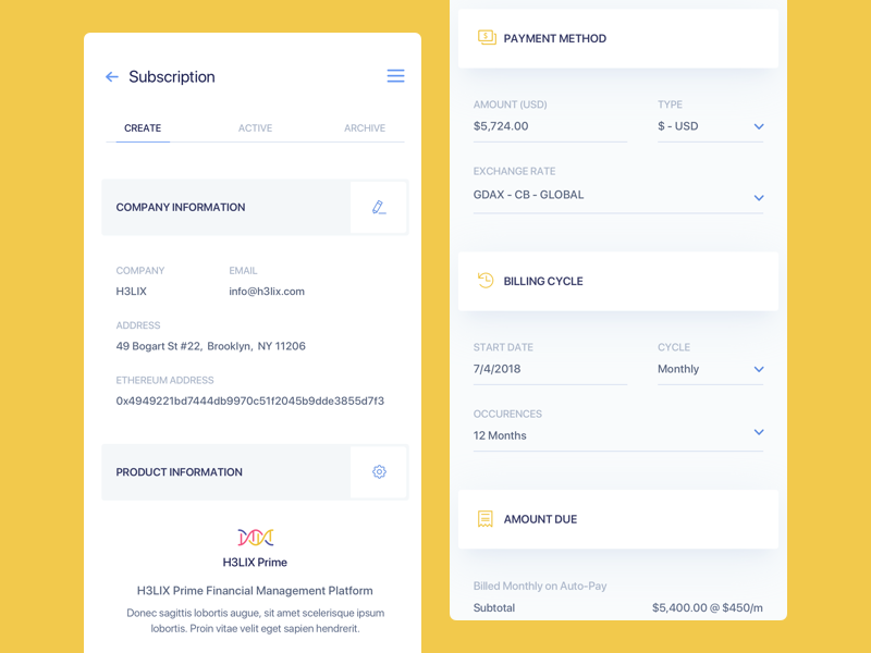 Subscriptions UI V2 Light - Mobile interface dashboard chart graph ux ui bitcoin product design design ethereum crypto web design