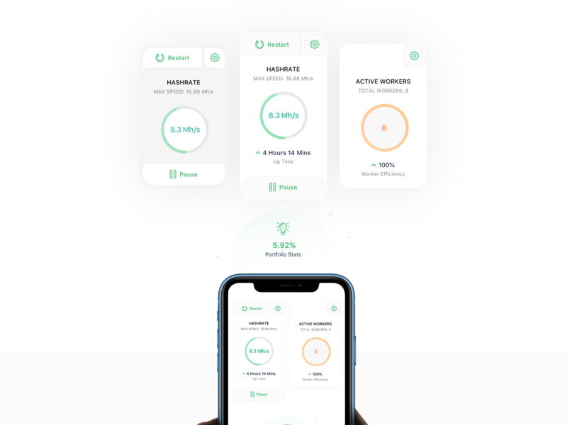 Bitcoin Hashrate Cards crypto dashboard finance crypto concept dashboard bitcoin product design ios icon flat sketch clean interface iphone web mobile app ux ui design