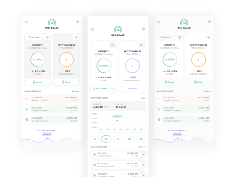 Bitcoin Hashrate Cards V2 crypto crypto currency finance concept dashboard bitcoin product design ios icon flat sketch clean interface iphone web mobile app ux ui design