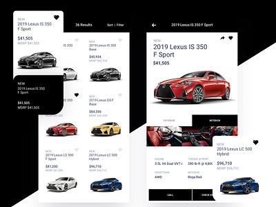 Lexus Cars Version 1 iphone x drive lexus commerce shopping cars car product design ios icon flat sketch clean interface iphone mobile app ux ui design