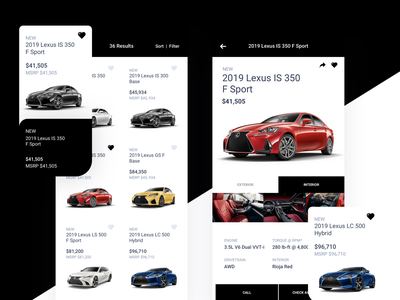 Lexus Cars Version 1 iphone x drive lexus commerce shopping cars car product design ios icon flat sketch clean interface iphone mobile app ux ui design