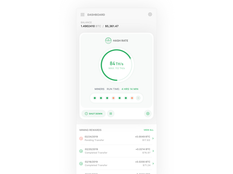 Bitcoin Hashrate Cards V4 crypto currency crypto finance concept dashboard bitcoin product design ios icon flat sketch clean interface web iphone mobile app ux ui design