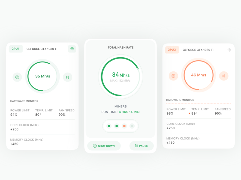 Bitcoin Hash Rate Dash Cards (WIP) 2 crypto finance web design concept dashboard bitcoin product design ios icon flat sketch clean interface web iphone mobile app ux ui design