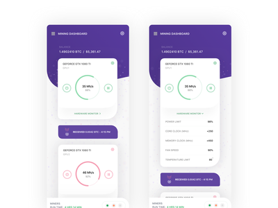 Bitcoin Hashrate Cards Fun crypto finance concept dashboard bitcoin sketch product design ios icon flat portfolio clean interface web iphone mobile app ui ux design