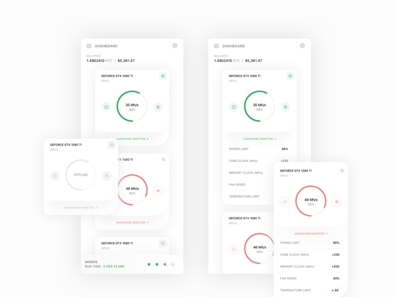 Bitcoin Hash Rate Dash Cards (WIP) web finance crypto web design flat concept dashboard bitcoin product design ios icon sketch clean interface iphone mobile app ux ui design