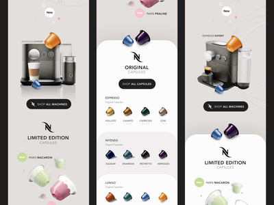 Nespresso - V1 Concepts graphic design art sales shopping uiux coffee app shop sale coffee concept product design clean interface iphone web mobile app ux ui design