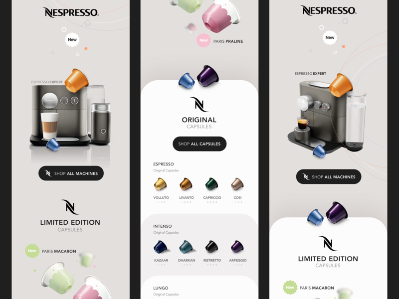 Nespresso - V1 Concepts graphic design art sales shopping uiux coffee app shop sale coffee concept product design clean interface iphone web mobile app ux ui design