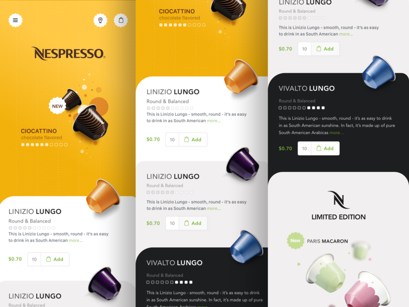 Nespresso - V2 Concepts flat type minimal ios typography logo branding illustration concept product design sketch clean interface iphone web mobile app ux ui design