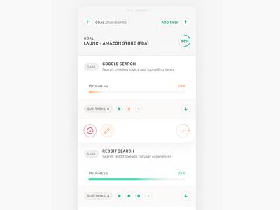 Goals and Tasks - Mobile UI Cards uxdesign ui  ux designer uidesign uiuxdesign goals goals app product design clean interface iphone web mobile app ux ui design