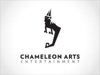 Chameleon Arts Entertainment Logo logo mark chameleon black reptile black and white