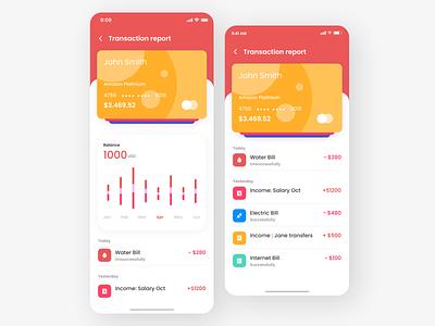Transaction Report App ux app typography ui design
