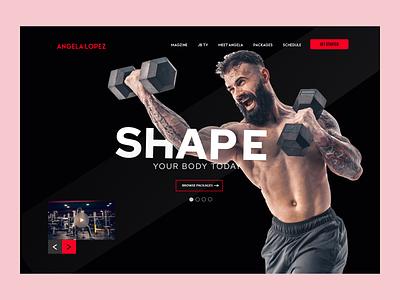Gym Landing Page website web flat typography ux ui design