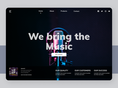 Music Site uiux deisgner new @daily-ui web designs branding design ux ui