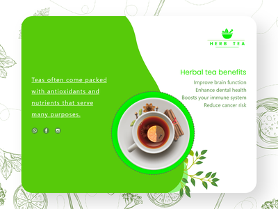 Herbal Tea Landing Page ui Design herbal tea herbal health tea website creative clean ux design adobe xd landing page xd design xd ui ui design
