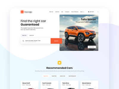 New/used Car Website Concept search sell used new car automobile clean ui clean landing page website design website concept design ux ui