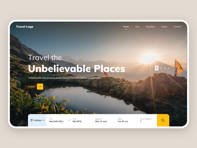 Travel Website - Landing Page design ux ui holidays travel landing page website