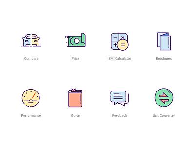 Icon Set guide feedback brochure calculator converter price car performance sketch illustration vector icons