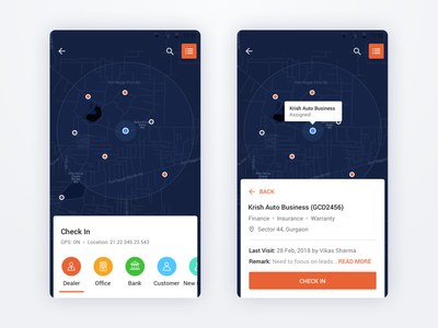 Check-In in Dealer Place App android location map color design ux app ui