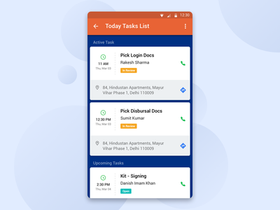 Loan Documents pick-up task App for Runner loan concept design bank app task document mobile ux ui app