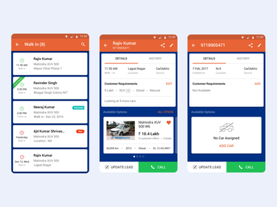 Walk-in Lead Listing & Detail UI/UX automobile car lead android listing concept mobile ux design app ui