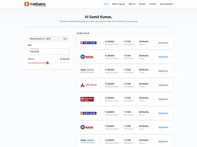 Top-up Loan Offers Page - UI/UX loan bank landing page color branding car vector illustration concept design ux ui