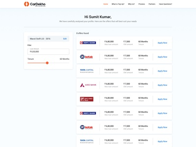 Top-up Loan Offers Page - UI/UX