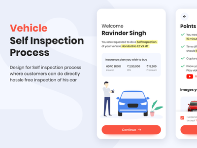 Vehicle Self Inspection - UI/UX flow camera inspection car vector illustraion mobile design ux ui