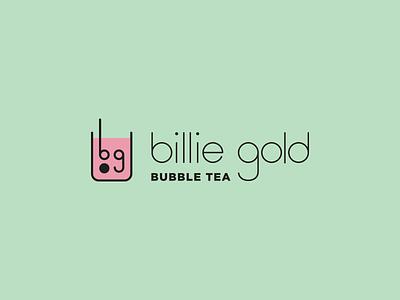 billie gold bubble tea final logo straw cup drink pink bubbles custom type boba bubble tea logo design logo