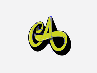 A drop shadow a logo capital a letter a monogram logotype bezier vector lettering custom type