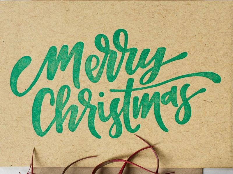 merry christmas french paper letterpress handmade green brush lettering handlettering custom type christmas card lettering christmas merry