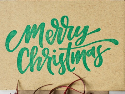 merry christmas french paper letterpress handmade green brush lettering handlettering custom type christmas card lettering christmas merry